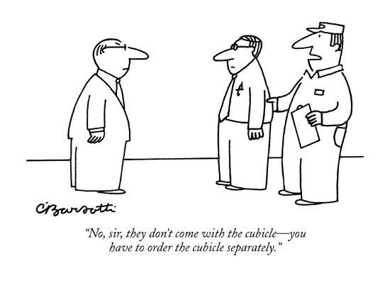 """""""No, sir, they don't come with the cubicle?you have to order the cubicle s?-Charles Barsotti-Premium Giclee Print"""