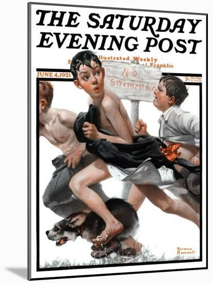 """""""No Swimming"""" Saturday Evening Post Cover, June 4,1921-Norman Rockwell-Mounted Giclee Print"""