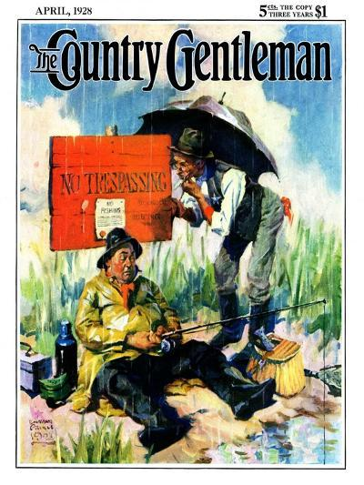 """""""'No Trespassing',"""" Country Gentleman Cover, April 1, 1928-William Meade Prince-Giclee Print"""