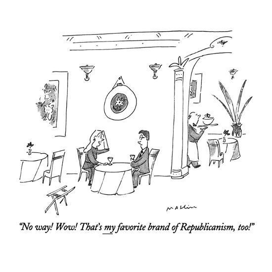 """No way!  Wow!  That's my favorite brand of Republicanism, too!"" - New Yorker Cartoon-Michael Maslin-Premium Giclee Print"