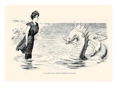 No Wonder the Sea Serpent Frequents Our Coast-Charles Dana Gibson-Art Print