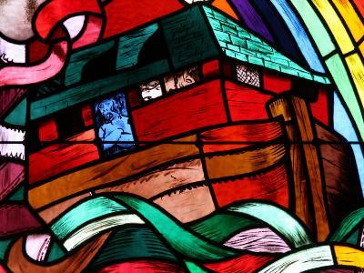Noah's Ark Depicted in Stained Glass Window, Saint-Joseph Des Fins Church, Haute Savoie, France-Godong-Photographic Print
