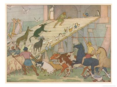 Noah's Ark, Noah's Sons Encourage the Animal Couples to Board the Ark-E. Boyd Smith-Giclee Print