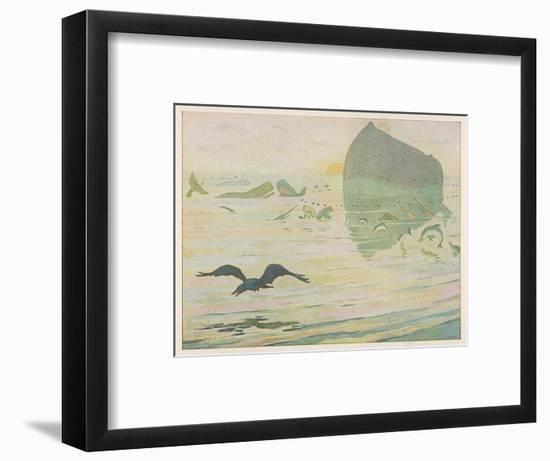 Noah's Ark, Noah Sends Forth the Raven to See if There's Any Sign of the Weather Clearing-E. Boyd Smith-Framed Giclee Print