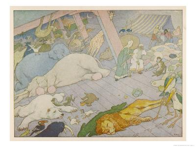 Noah's Ark, Some of the Animals Suffer from Sea-Sickness-E. Boyd Smith-Giclee Print