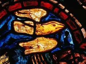 Noah Sends the Dove to See Whether the Waters Recede, from the Noah Window, 13th Century