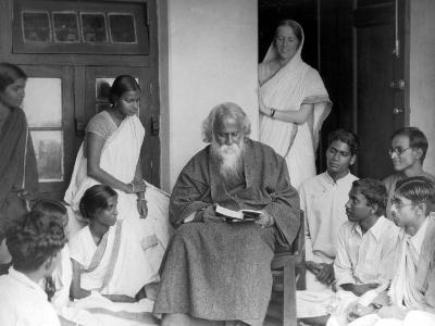 Nobel Prize Winning Indian Poet Rabindranath Tagore Reading to Others--Premium Photographic Print
