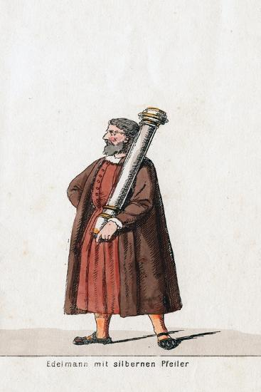 Nobleman with Silver Column, Costume Design for Shakespeare's Play, Henry VIII, 19th Century--Giclee Print