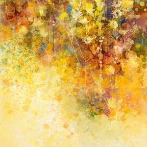 Abstract Watercolor Painting White Flowers and Soft Color Leaves by Nongkran_ch