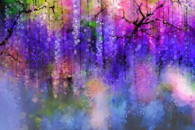 Spring Purple Flowers Wisteria.Watercolor Painting