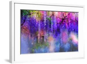 Spring Purple Flowers Wisteria.Watercolor Painting by Nongkran_ch