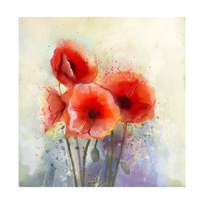 Water Color Red Poppy Flowers Painting.