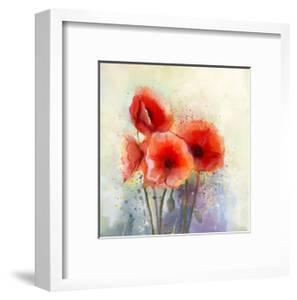 Water Color Red Poppy Flowers Painting. by Nongkran_ch