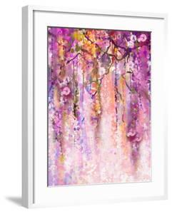 Watercolor Painting. Spring Purple Flowers Wisteria Background by Nongkran_ch