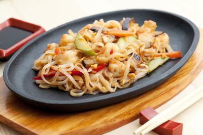 Noodles with Seafood. Japanese Cuisine-Gresei-Photographic Print