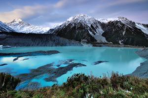 Mueller Glacier Lake and Mount Cook at Dusk by Nora Carol Photography