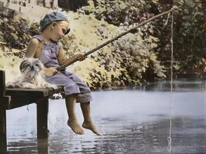 Boy and His Dog Fishing Off Dock by Nora Hernandez