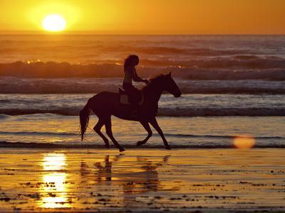 Girl on a Running Horse on the Beach