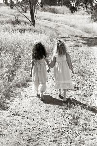 Girls Walking Down the Path, Friends by Nora Hernandez