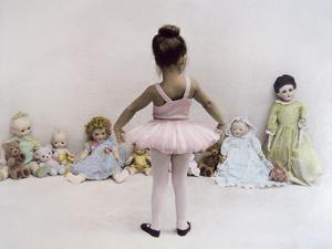 Little Ballerina in Pink with Dolls by Nora Hernandez