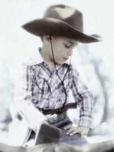 Little Boy Wearing Cowboy Hat by Nora Hernandez