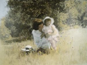 Mother and Child in Field by Nora Hernandez
