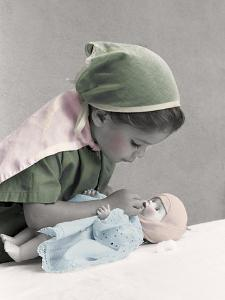 Young Girl Dressed as Nurse Tending to a Baby Doll.Get Well by Nora Hernandez