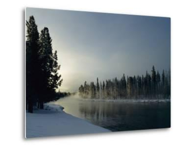 A Winter View of the Yellowstone River at Sunset