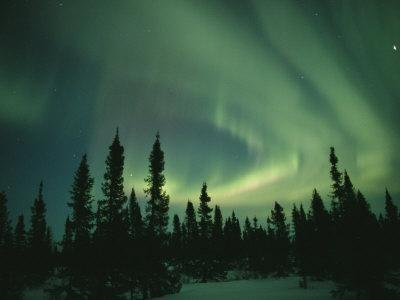 Green Curtain of the Aurora Borealis over the Hudson Bay Area