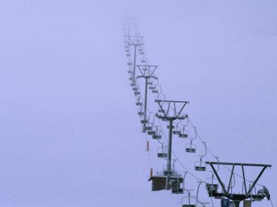 Ski Lift in a Thick Fog at the Seebuck Mtn