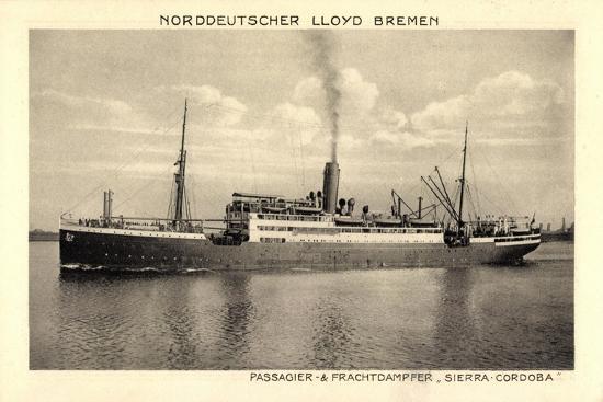 Norddeutscher Lloyd Bremen, Dampfer Sierra Cordoba--Giclee Print