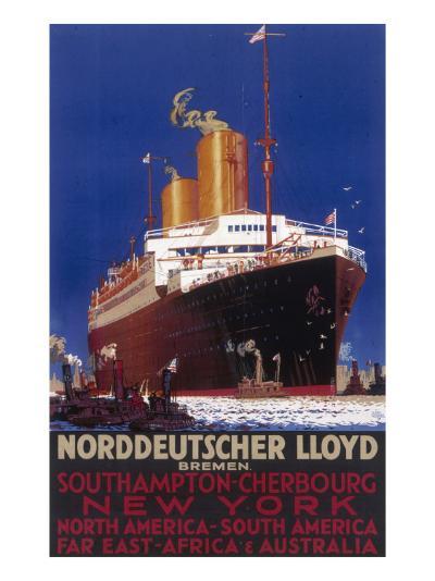 Norddeutscher Lloyd Shipping Poster--Giclee Print