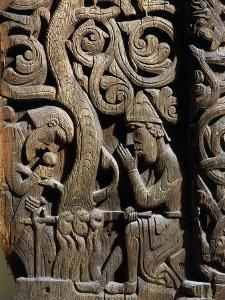 Nordic Saga or Legend of Siegfried or Sigurd, 12th century wood panel from Setesdale Church Norway