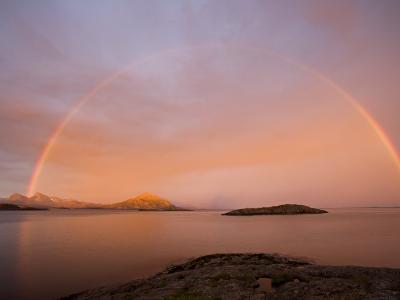 Nordland, Helgeland, A Rainbow at Midnight, Norway-Mark Hannaford-Photographic Print