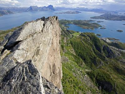 Nordland, Helgeland, Rodoy Island, View of the Surrounding Islands from the 400 Metre High Peak of -Mark Hannaford-Photographic Print