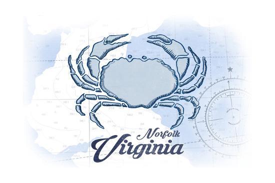 Norfolk, Virginia - Crab - Blue - Coastal Icon-Lantern Press-Art Print