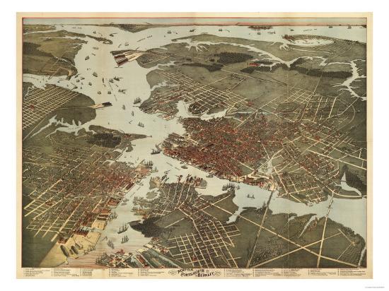 Norfolk, Virginia - Panoramic Map-Lantern Press-Art Print