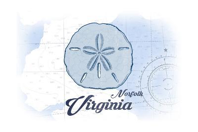 Norfolk, Virginia - Sand Dollar - Blue - Coastal Icon-Lantern Press-Art Print