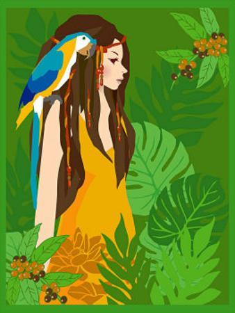 Girl in Tropical Paradise with Blue Bird