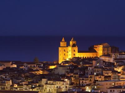 Norman Cathedral Lit Up at Dusk, Cefalu, Sicily, Italy, Mediterranean, Europe-John Miller-Photographic Print