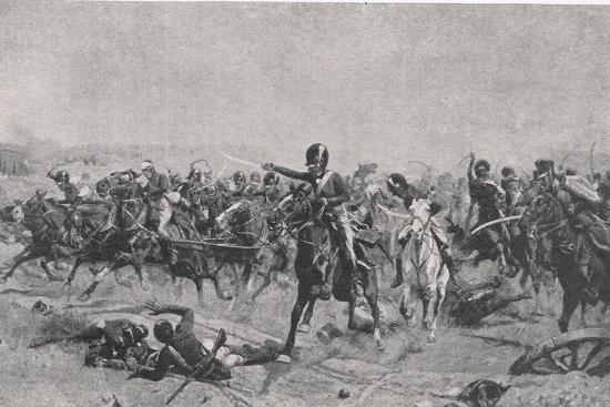 Norman Ramsay at Fuentes de Onoro, 5th May 1811, Illustration from 'British Battles on Land and…-William Barnes Wollen-Giclee Print