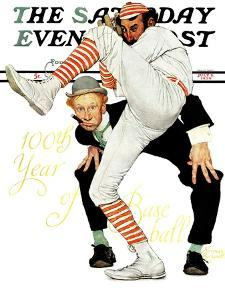 """""""100th Anniversary of Baseball"""" Saturday Evening Post Cover, July 8,1939 by Norman Rockwell"""