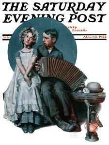 """""""Accordionist"""" or """"Serenade"""" Saturday Evening Post Cover, August 30,1924 by Norman Rockwell"""