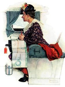 """""""Airplane Trip"""" or """"First Flight"""", June 4,1938 by Norman Rockwell"""