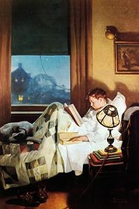 And Every Lad May Be Aladdin (or Reading in Bed) by Norman Rockwell