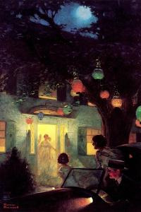 And the Symbol of Welcome Is Light (or Guests Arriving at Party) by Norman Rockwell