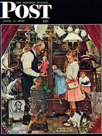 """""""April Fool, 1948"""" Saturday Evening Post Cover, April 3,1948 by Norman Rockwell"""