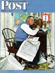 """Armchair General"" Saturday Evening Post Cover, April 29,1944 by Norman Rockwell"