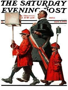 """Army March"" or ""Grand Reception"" Saturday Evening Post Cover, November 8,1924 by Norman Rockwell"