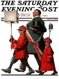 """""""Army March"""" or """"Grand Reception"""" Saturday Evening Post Cover, November 8,1924 by Norman Rockwell"""